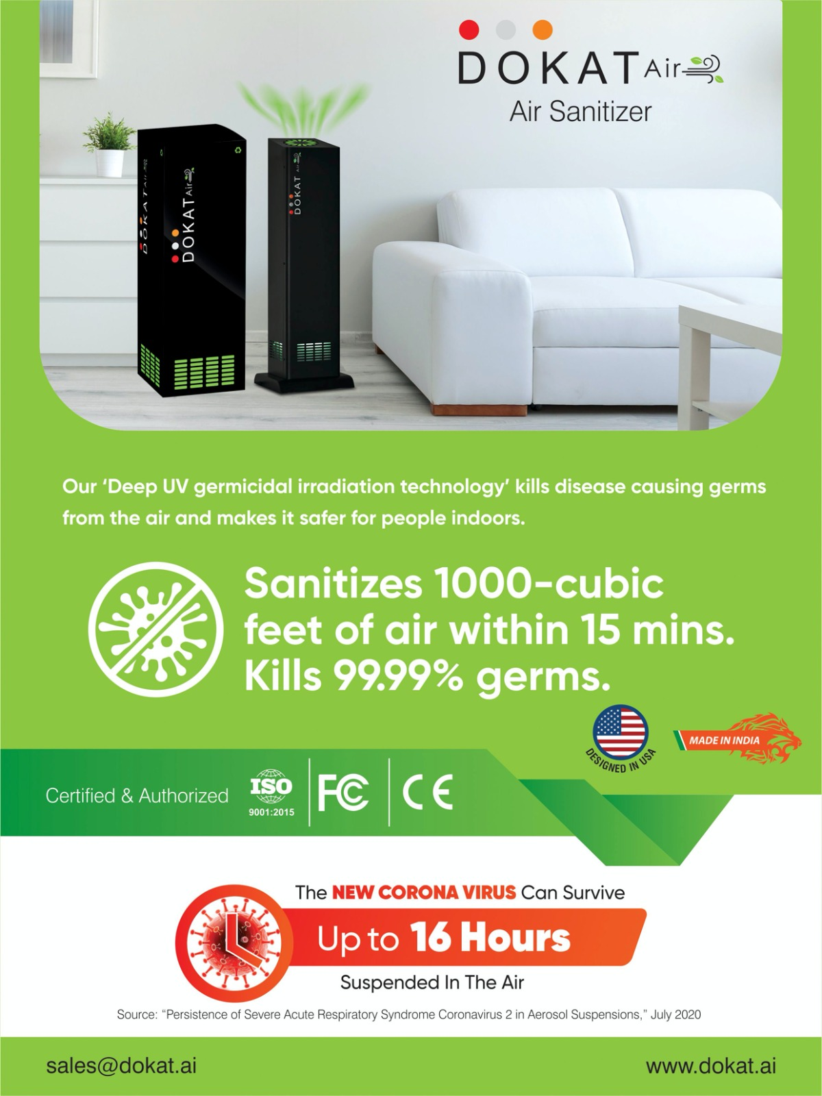 World's first DeepUV Air Sanitizer, launched by Indian startup Dokat Inc.